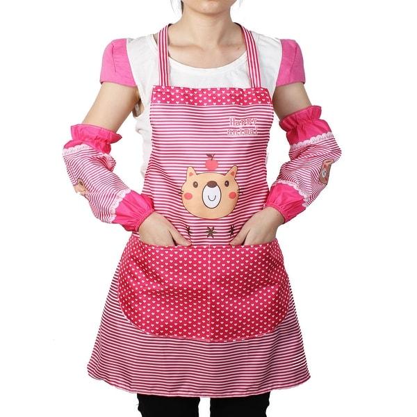 Women Kitchen Restaurant Cooking Aprons Pocket Gift Apron Fuschia W Sleeves
