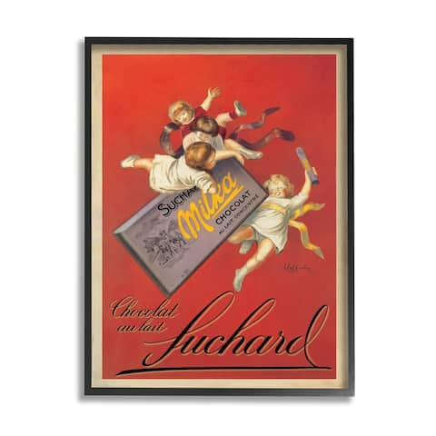Stupell Industries Chocolat au Lait Vintage European Advertisement Framed Wall Art