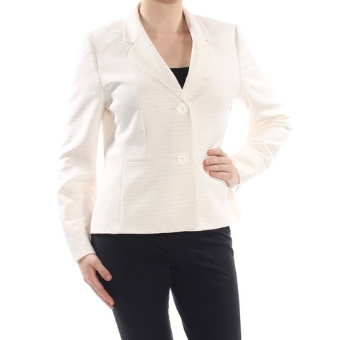 LE SUIT Womens Ivory Two Button Tweed Jacket Size: 10