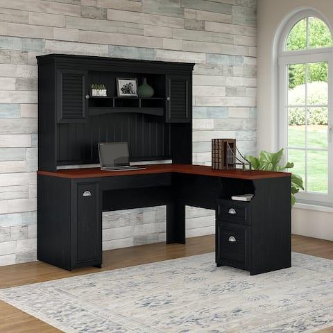 Copper Grove Khashuri Antique Black L-shaped Desk with Hutch