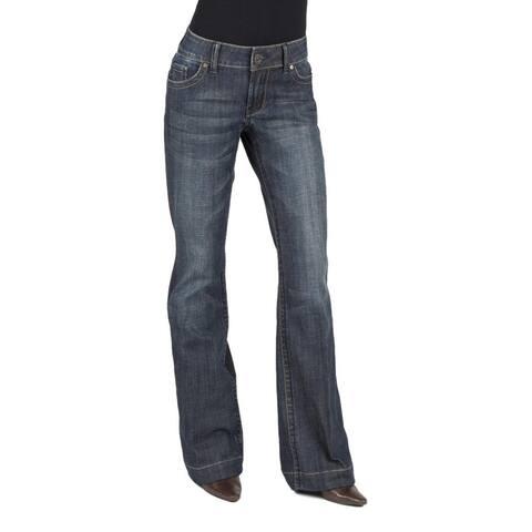 Stetson Western Denim Jeans Womens Flared Leg Blue