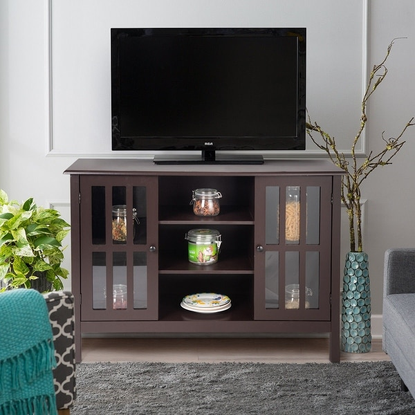 Gymax Wood Tv Stand Storage Console Free Standing Cabinet Holds Up To A 45 X27