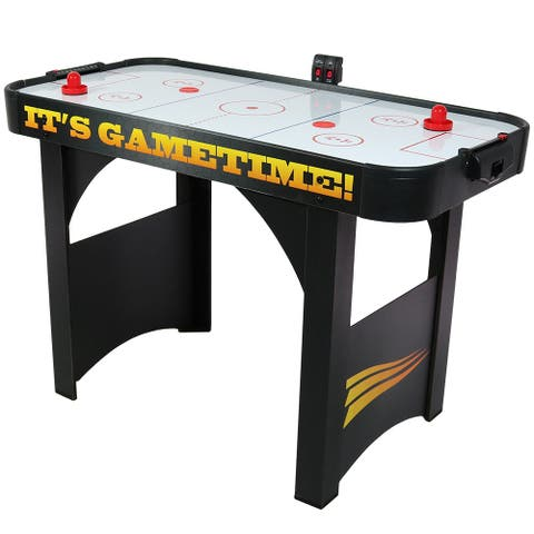 Sunnydaze 48-Inch Air Hockey Recreational Game Table - Scorers and Accessories - Black