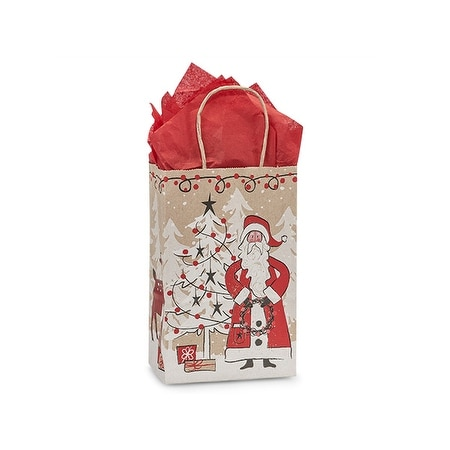 "Pack of 25, Rose Woodland Santa Kraft Bags 5.5 x 3.25 x 8.5"" For Christmas Packaging, 100% Recyclable,"