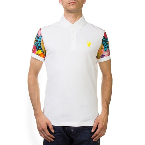 0e86bfa9 Versace Jeans Couture Pima Cotton Floral Sleeve Polo Shirt White. Click to  Zoom
