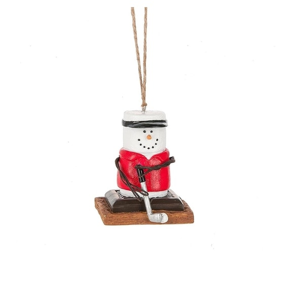 "2.5"" S'mores Golfing Marshmallow Christmas Ornament - WHITE"