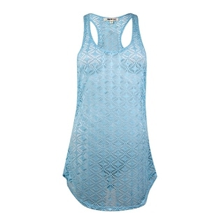 Miken Women's Crochet Lace Tank Swim Coverup (M, Aqua) - M