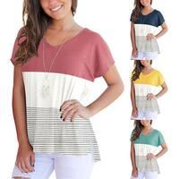 Color Block Stripe Short Sleeve Tee Shirt Top
