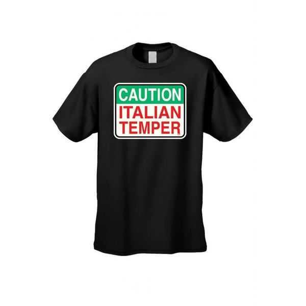 Men's T-Shirt Caution Italian Temper Sign Humor Italy Jersey Shores