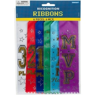 """Recognition Ribbons 7.5""""X2"""" 6/Pkg-Assorted - Assorted"""