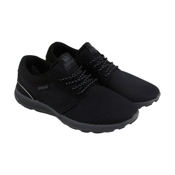 d5e47164b10e Supra Hammer Run Mens Black Mesh Athletic Lace Up Running Shoes ...