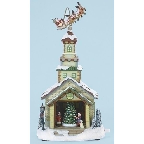 "15"" Musical LED Lighted Church w/ Santa & Sleigh Christmas Table Top Decor"