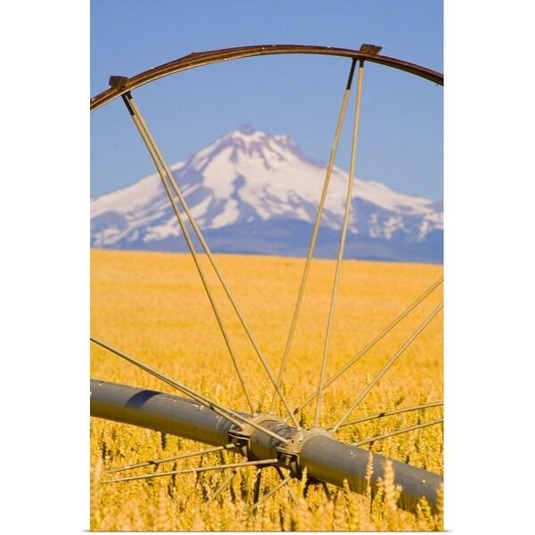 """View of Mount Hood through farming equipment, Oregon, USA"" Poster Print"