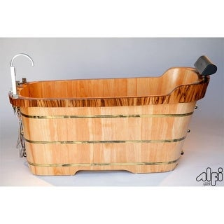 "ALFI brand AB1148 59"" Oak Soaking Bathtub for Freestanding Installations with Re - Natural Wood"