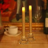 """9"""" LED Flameless Dripless Led Taper Candles with Timer Function, Battery Operated, Wedding Dinner Candle Set of 2 (Gold Glitter)"""