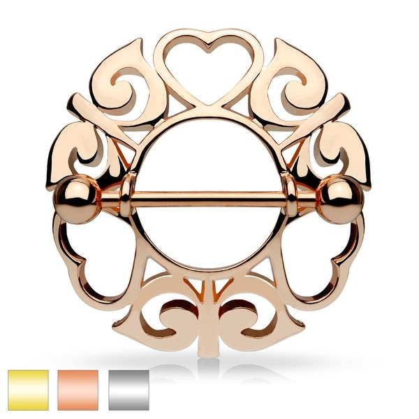 Tribal Hearts Hollow Nipple Shield with Surgical Steel Barbell - 14GA (Sold Ind.)