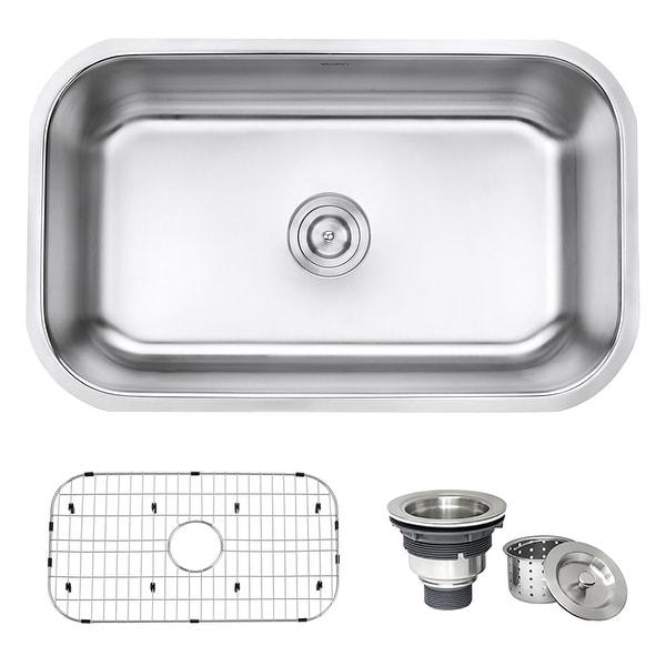 Ruvati 30-inch Undermount 16 Gauge Stainless Steel Kitchen Sink Single Bowl - RVM4250 - 27-3/4? x 16? - 27-3/4″ x 16″. Opens flyout.