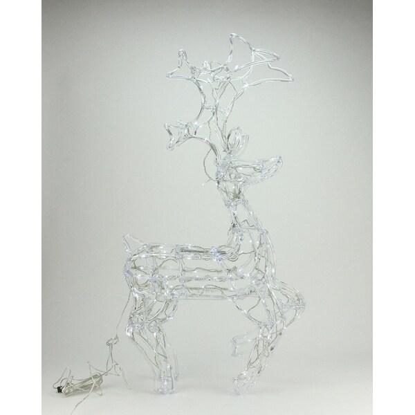 "34"" LED Lighted Standing Buck Deer Spun Glass Christmas Outdoor Decoration - Polar White Lights"