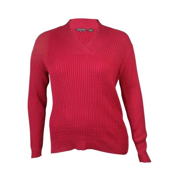 fcd24aa37e ... Women s Sweaters     Long Sleeve Sweaters. Jeanne Pierre Women  x27 s  V-Neck Cable Knit Sweater (L