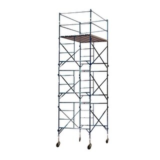Offex 3 Story Metal Rolling Scaffold Tower with Blue Powder Coat Finish
