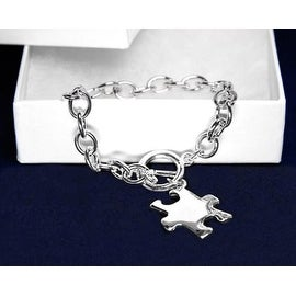 Autism Awareness Puzzle Bracelet-Chunky Silver Bracelet with Puzzle Charm