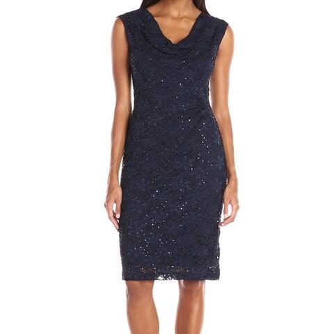 Connected Apparel Blue Women's Size 6 Drape Lace Sheath Dress