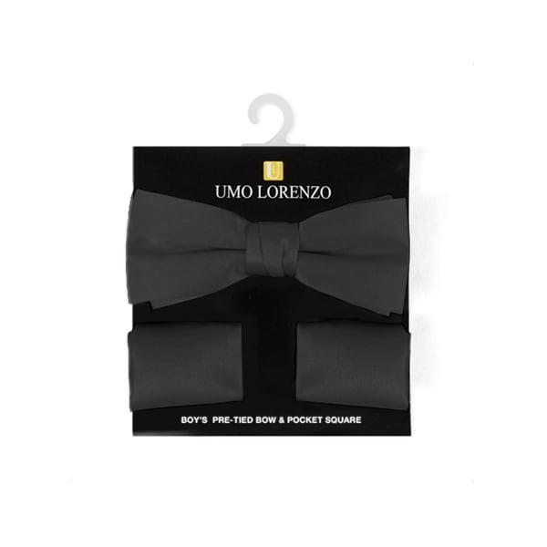Boy's Solid Pre Tied Bow Tie and Hanky Set - One size