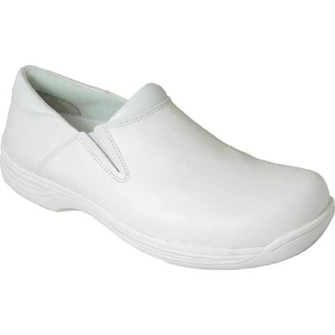 Genuine Grip Footwear Women's Slip-Resistant Slip-On Work Shoes White Leather