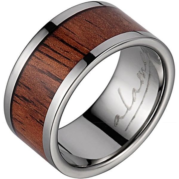 Titanium Wedding Band With Koa Wood Inlay 10 mm