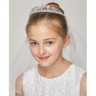 Girls White Bow Pearl Detail Rhinestone Crown Flower Girl Communion Veil