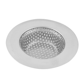 Household Stainless Steel Basin Sink Mesopore Strainer Drainer Silver Tone