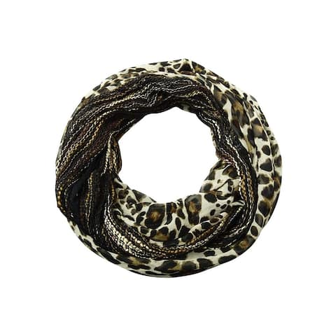 Collection Eighteen Women's Cheetah Print Crotchet Infinity Scarf - Black - One Size Fits Most