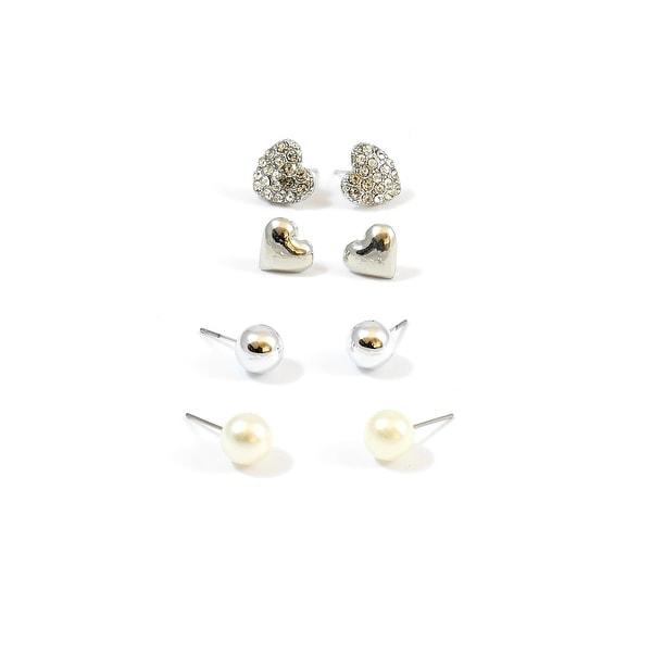 Multi Earrings Set Hearts Round Balls Silver Pearl