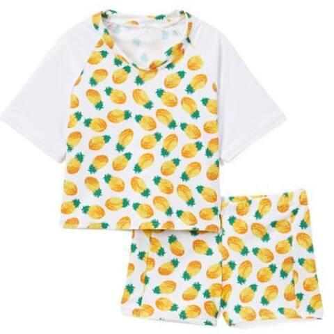 Rash Guard Short Set - White with Pineapples
