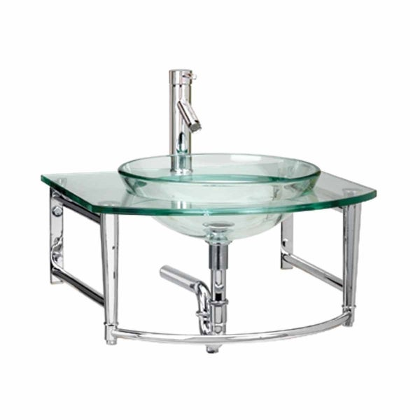 Wall Mount Tempered Glass Sink With Faucet Drain And P
