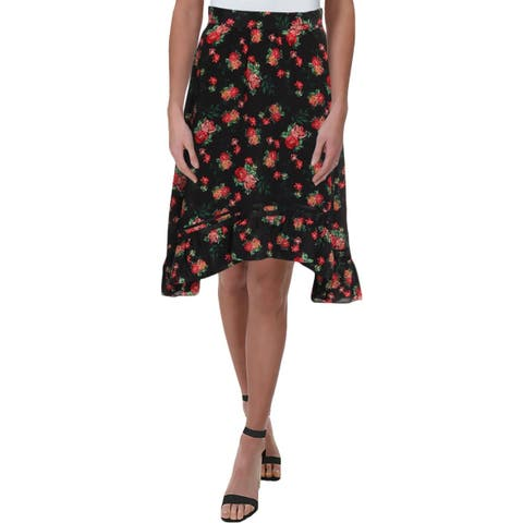 Juicy Couture Black Label Womens A-Line Skirt Silk Floral