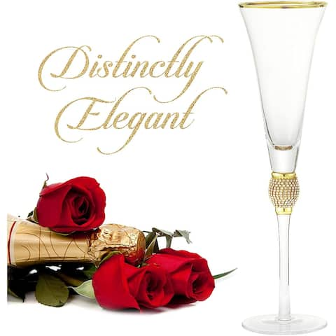 Cheer Collection Luxurious Champagne Trumpet Flutes with Dazzling Rhinestone Design and Gold Rim