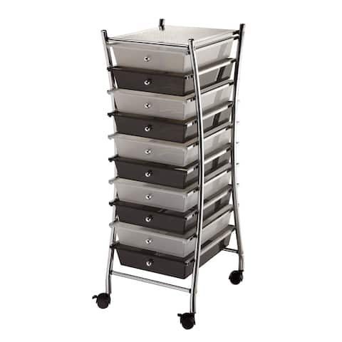 Alvin sc10csm-x x-frame storage cart 10-drawer (standard) clear/smoke