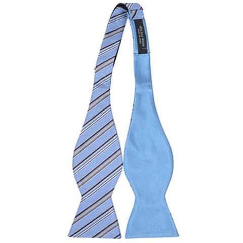 Men's Blue 100% Silk Woven Freestyle and Reversible Bow Tie FRBS1060 - Regular