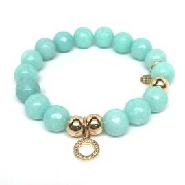 Aqua Quartz Circle Charm stretch bracelet 14k over Sterling Silver