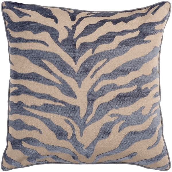 "18"" Ash Gray and Beige Brown Animal Print Decorative Throw Pillow – Down Filler"