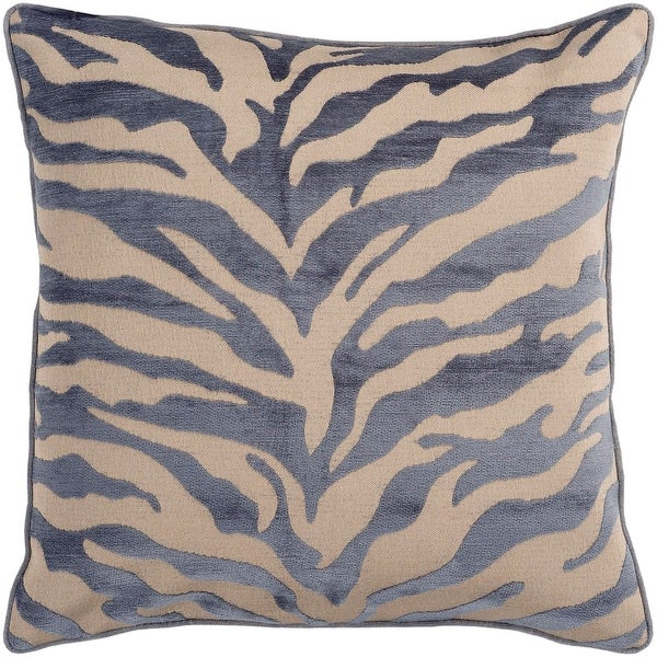 "18"" Ash Gray and Beige Brown Animal Print Decorative Throw Pillow"