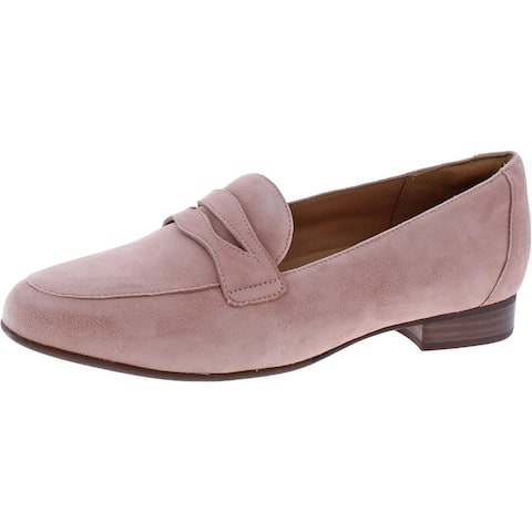 Unstructured by Clarks Womens Un Blush Go Penny Loafers Suede Slip On - Rose Suede - 9 Wide (C,D,W)