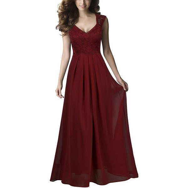 REPHYLLIS Womens Gown Wine Red Size Small S Sweetheart Pleated-Chiffon. Opens flyout.