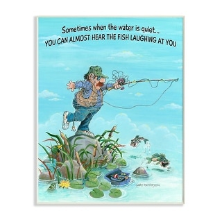 Link to Stupell Industries Fish Laughing Funny Sports Fishing Cartoon Design Wood Wall Art Similar Items in Wood Wall Art