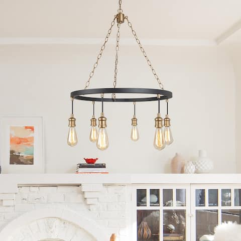 "Modern & Farmhouse 6-light Wagon Wheel Chandelier Hanging Ceiling Pendant Lighting - D 24.8"" x H 31.5"""