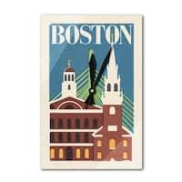 Boston, Massachusetts - Woodblock - LP Artwork (Acrylic Wall Clock) - acrylic wall clock