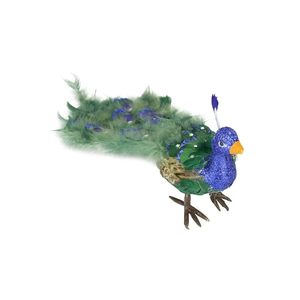 """19"""" Colorful Green Regal Peacock Bird with Closed Tail Feathers Christmas Decoration"""