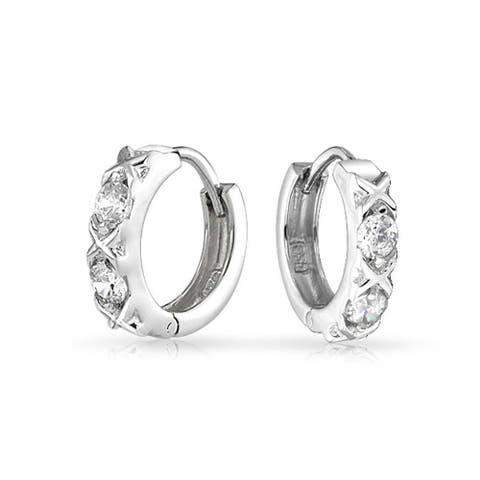 XOXO CZ Hugs Kisses Hoop Earrings Cubic Zirconia Sterling Silver