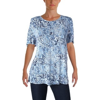 Calvin Klein Womens Casual Top Printed Cold Shoulder